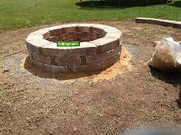 Home Depot Concrete Patio Blocks by Finished Fire Pit Rumble Stone From Home Depot Backyard Patio
