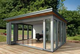 Backyard Office Building Small Shed Offices Glass Garden Office Communal Area
