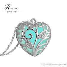 day necklaces wholesale new valentines day blue glowing heart necklace glow in