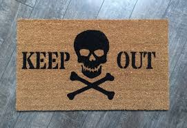keep out doormat skull welcome mat hand painted outdoor