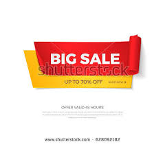 realistic detailed curved paper sale stock vector 206261263