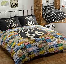 Amazon Duvet Sets Route 66 Double Duvet Cover Distressed Vintage Reversible Usa