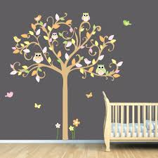 Nursery Owl Wall Decals Comfortable Tree Wall Decal And Personalized Name To Lummy