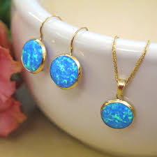 blue opal 14k gold opal necklace blue opal dainty necklace gemstone