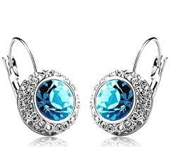 on earrings shining blue platinum plated clip on earrings for