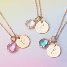initial necklaces for personalised initial birthstone necklace by bloom boutique