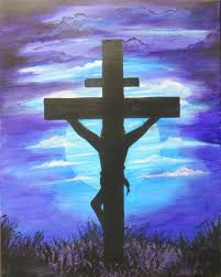jesus christ on the cross painting 16 x 20 acrylic on
