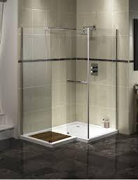 bathroom corner walk in shower design with clear glass shower