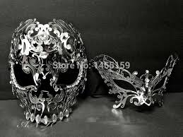 masquerade masks for couples men women silver metal evil skull venetian butterfly masquerade