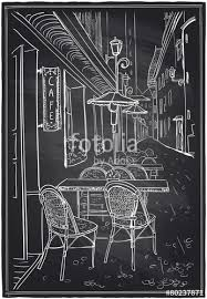 street cafe chalk sketch on a blackboard