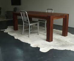 Cowhide Rug Living Room Ideas Accessories White Cowhide Rug With Wood Table And Concrete
