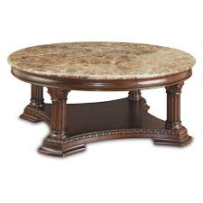 stylish carved wood coffee table with round brown polished teak