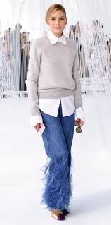 Olivia Palermo Home Decor Olivia Palermo Wears Feathered Jeans And Metallic Heels To Delpozo