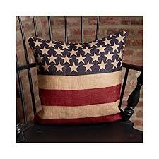 Burlap Decorative Pillows Amazon Com Vintage American Flag Burlap Throw Pillow Cover 16 X