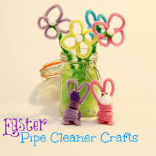easter crafts pipe cleaner flowers and bunnies family food and