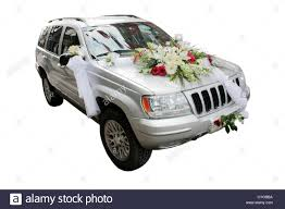 jeep car white silver wedding decorated jeep car isolated on white stock photo