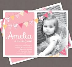 First Year Invitation Birthday Cards First Birthday Invitation Bunting Flags Banner Photo Printable