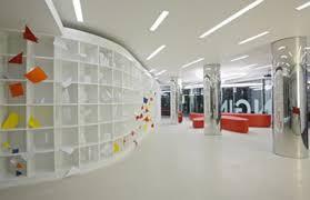 futuristic modern office interior design idea with cheerful appeal