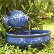 Home Blue Fish Ceramic Blue Fish Outdoor Fountain Placed In The Garden Outdoor