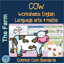 farm animals cow themed english and mathematics worksheets and