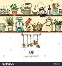 rustic kitchen banner side view kitchen stock vector 391705099