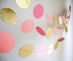 pink garland gold pink garland glitter garland circle paper pink baby