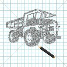 hand drawn monster truck sketch gl stock images