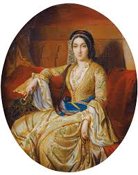 Canvas Ottoman by French Young Woman In Turkish Costume Oil On Canvas 34 X