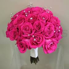 wedding flowers ottawa fuchsia roses and bling bridal bouquet w flowers ottawa