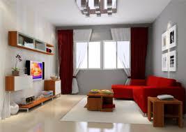 adorable red sofa with grey walls bedroom ideas