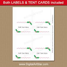 elegant christmas place card printable with holly digital art star