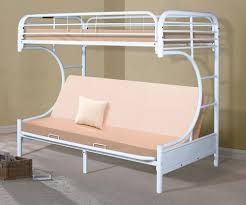 Metal Bunk Bed With Futon Metal C Shaped Futon Bunk Bed In White Finish 4509 3wh Donco