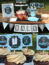 Blue Baby Shower Decorations Boy Baby Q Decorations Blue Baby Q Couples Baby Shower Coed