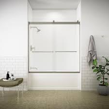 clear glass floor l kohler levity 59 in x 62 in semi frameless sliding tub door in