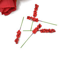 artificial red berry stem christmas decoration diy accessories