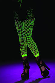 black light activated green fishnet leggings costume hosiery
