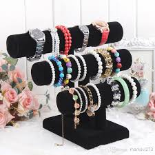 Hair And Makeup Organizer 2017 Black Velvet Watch Bracelet Jewelry Display Stand Removable