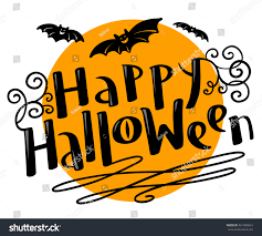 happy halloween handdrawing lettering composition bats stock