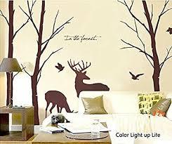 amazon com cukudy deer wall decals nature brown wall decals birch