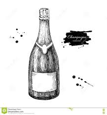 black and white champagne bottle clipart champagne bottle hand drawn isolated vector illustration alcoh