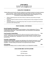sample firefighter resume paramedic resume job description emergency medical technician and