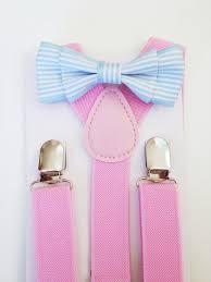 boys light blue tie suspender bow tie set light blue baby bow tie pink suspenders blue