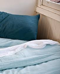 linen duvet cover in light blue by in bed the horse