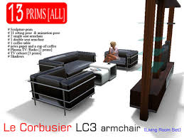 Lc3 Armchair Second Life Marketplace Le Corbusier Lc3 Living Room Set V2