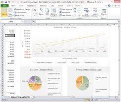 Sales Chart Excel Template Even Analysis Template For Excel 2013 With Data Driven Charts