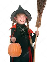 child in costume halloween witch with pumpkin broom u2014 stock