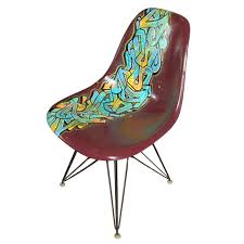 vintage eames chair for herman miller reimagined by graffiti
