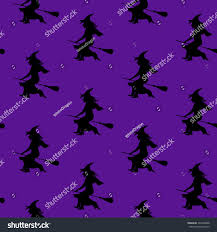 Flying Witch Decoration Seamless Pattern Witch Silhouette Witch Hat Stock Vector 394432888