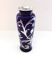 Antique Cobalt Blue Vases Antique Cobalt Blue And Silver Overlay Glass Vase From Thatwasthen