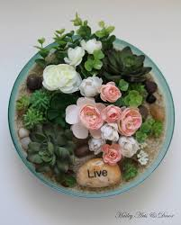 glass bowl floral and succulent by hailey arts and decor on zibbet